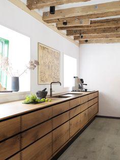 Cocina de madera vigas