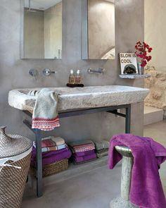 lavabo piedra cemento