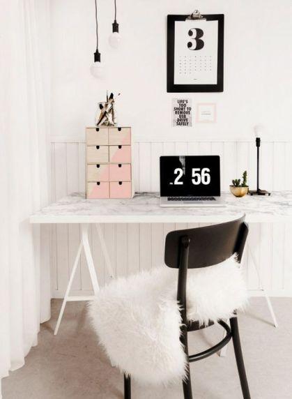 tablero blanco LINNMON y vinilo mármol Ikea escritorio