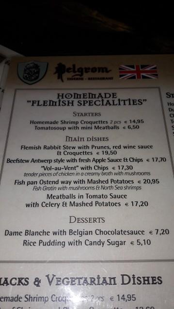 Menú flamenco restaurante Pelgrom Amberes