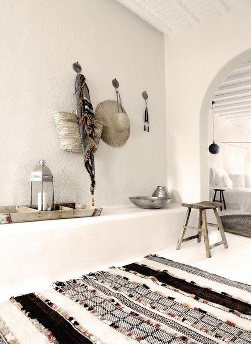 boho blanco y negro alfombra etnica