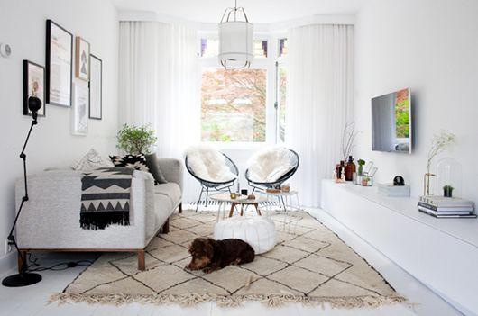 boho blanco y negro alfombra rombos