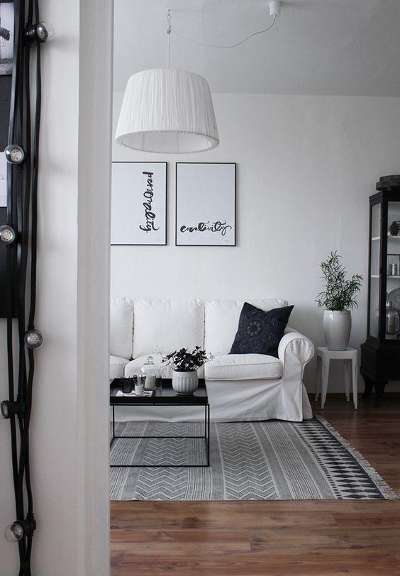 deco boho blanco y negro alfombra etnica