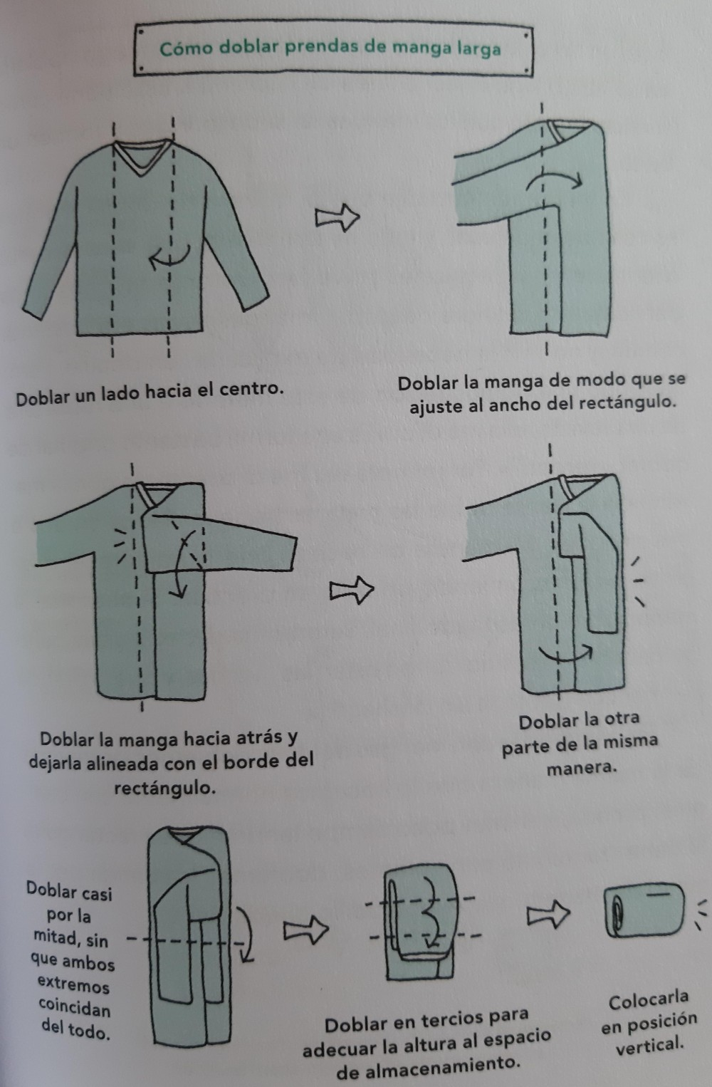 Como doblar prendas de manga larga