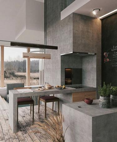 Cocina exterior cemento